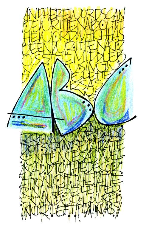 Kathie McIlvride, monoline lettering.