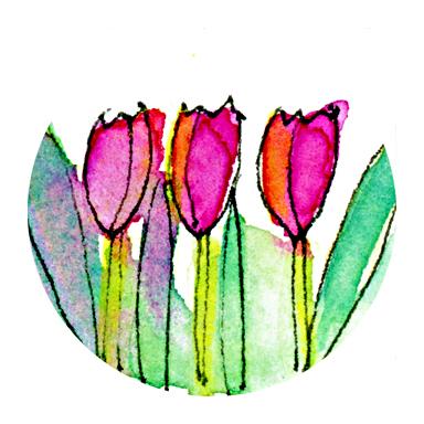 Kathie McIlvride, watercolour tulips