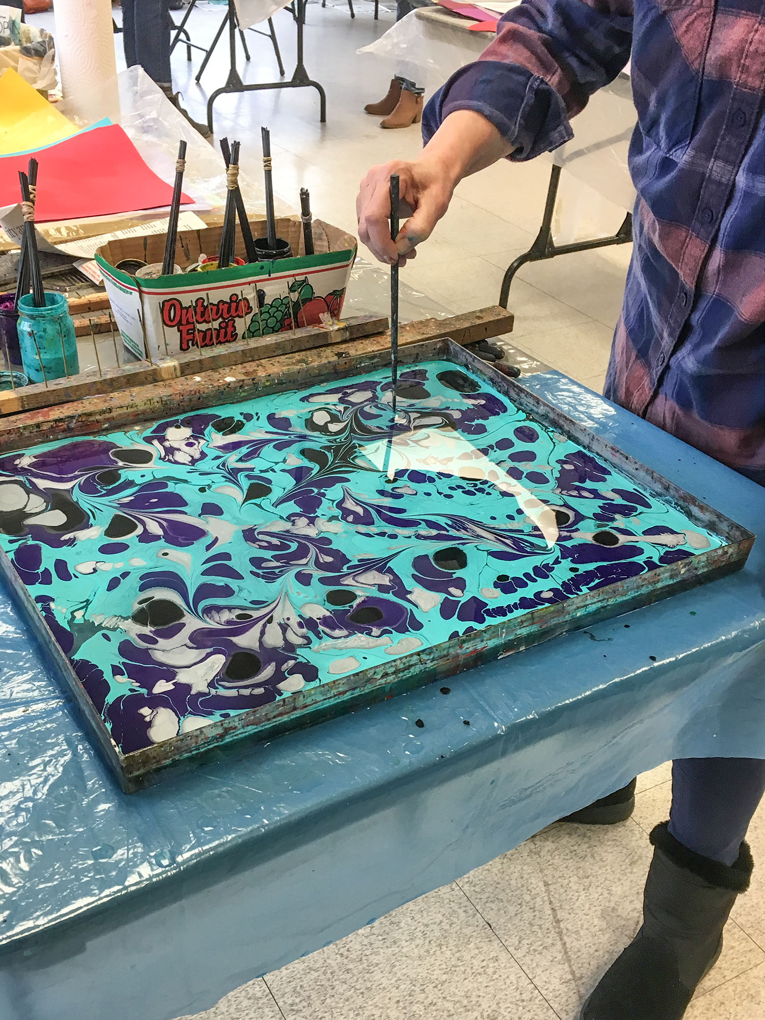 class participant, Paper Marbling with Janet Carroll